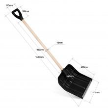 Лопата снегоуборочная 420*370, деревянный черенок d40, чёрная, композитный пластик
