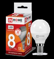 IN HOME Лампа светодиодная LED-ШАР-VC 8Вт 230В Е14 6500К 600Лм