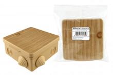 TDM распаячная коробка ОП 100х100х55мм, крышка, сосна,  IP54, 8вх. инд. штрихкод