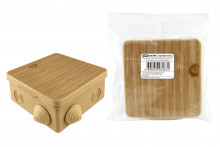 TDM распаячная коробка ОП 80х80х50мм, крышка, сосна, IP54, 7вх. инд. штрихкод