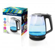 Чайник электрический ERGOLUX ELX-KG01-C42 серебристо-черн. (стеклянный, 1.7л, 160-250В, 1500-2300Вт)