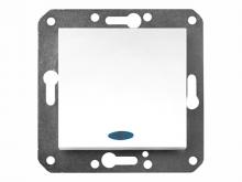 Выключатель Volsten одноклавишный с индикатором (бел),механизм, Violet