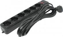 Сетевой фильтр РАДИСТ РВС16-006 (с кнопкой и подсветкой) 10А 6 гн ПВС 3*1 (3м) черный