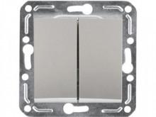 Выключатель 2-кл. (серебро), механизм, Magenta