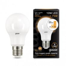 Лампа Gauss LED A60 10W E27 2700K ступеньчатое диммирование