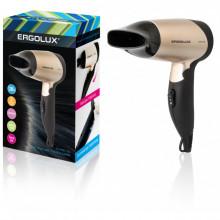 Фен ERGOLUX ELX-HD01-C64 черный/золото (складная ручка, 1200Вт, 220-240В)