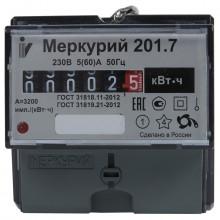 Счетчик меркурий 201.7 1ф.1 тар. 5(60) кл.точ. 1.0 din-рейка, мех.