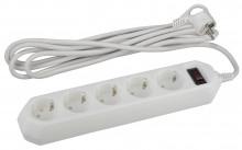 ЭРА сетевой фильтр USF-5es-3m-W (белый) с заземл, 3x0,75мм2, с выкл, 5гн, 3м
