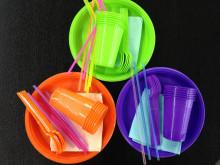 GRIFON Набор для пикника цветной на 6 персон, (тарелка, стакан, вилка и салфетка)*6