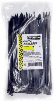 КРЕПТОН хомут нейлоновый 3,6х200 мм, черный (100шт./упак.)