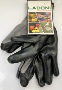 Перчатки LADONI серый нейлон, покрытые черным нитрилом